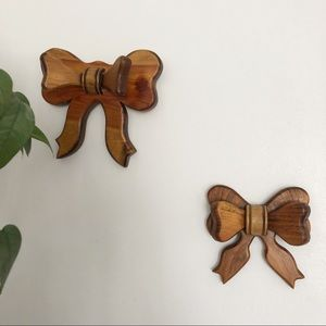Vintage Wooden Handmade Ribbon Wall Decor Set Boho